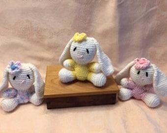 Hand Crocheted Bunny ~ Crochet Bunny Plush ~ Amigurumi Bunny ~ Crochet Easter Bunny ~ White Bunny ~ Crochet Baby Toy ~ Crocheted Rabbit