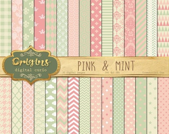 70% OFF Pink and Mint Digital Paper, baby shower digital paper pink Patterns backgrounds, scrapbook paper instant download commercial use