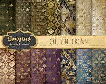 Gold Crowns Digital Paper, medieval fantasy gold foil digital backgrounds, printable scrapbook paper, heraldic golden crests, royal patterns