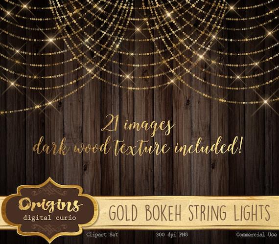 Gold Bokeh Sparkling String Lights Digital Overlay PNG Fairy