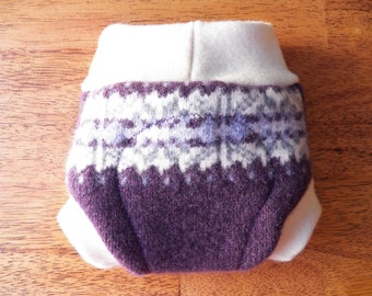 Upcycled Wool Diaper Cover - NEWBORN (0-1 Month) - Lambswool and Merino Wool Soaker - Plum Purple with Cream and Gray Fair Isle Pattern