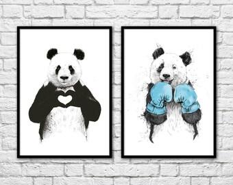 2 Art-Posters 30 x 40 cm - Duo Pandas