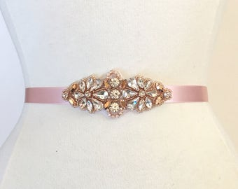 Rose Gold Bridesmaids Belt-Rose Gold Flower Girl Sash-Rhinestone Belt-bridal sash-Bridal Belt or Bridesmaids sash- small wedding belt b113