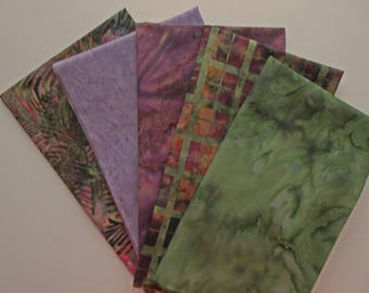 Purple Green Batik Fabric Bundle - 5  Fat Quarter Cuts - Plaid & Fern - 100% Cotton