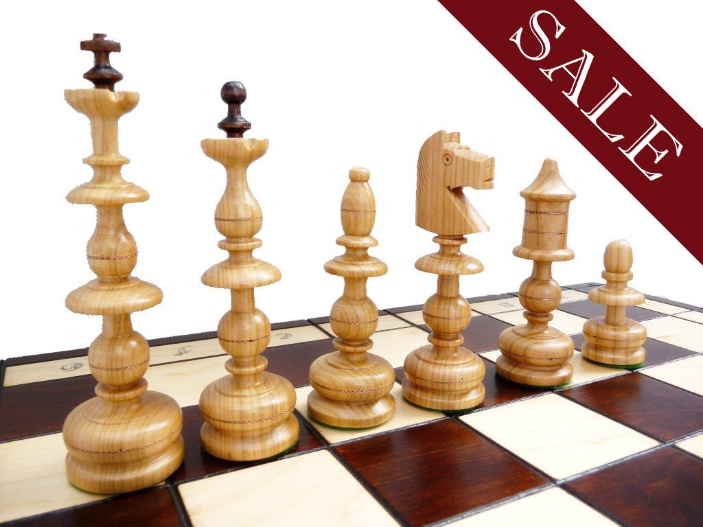 Stylish Wooden Chess Set Handmade 58x58cm Copper By