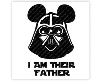 Disney, Darth Vader, I Am There Father, Mickey, Minnie, Mouse, Head, Ears, Digital, Download, TShirt, Cut File, SVG, Iron on, Transfer