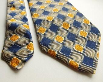 Cerruti 1881 necktie, Blue yellow necktie, silk necktie, navy blue striped gold geometric 100% Silk Made in France shinny smooth floral tie