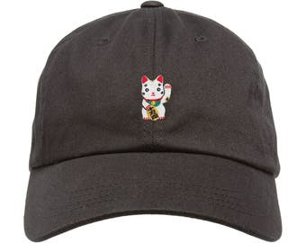 Premium Unstructured Japanese Lucky Cat Low Profile Dad Hat Maneki Neko Adjustable W/ Brass Closure Patch