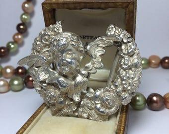Art Nouveau Cherub Sterling Silver Belt Buckle by William Kerr