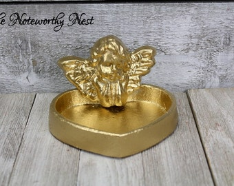 CUSTOM COLORS: Change dish //  heart dish // Angel cast iron dish // cottage decor // ring dish / trinket // Gifts for her // Valentines