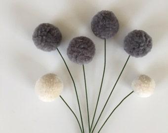 Pom Pom Flowers, Fall Flower Bouquet, PomPoms, Yarn Flowers, Pom-Pom Flowers, Floral Arrangement, Mantel Decor, Centerpiece, Poms