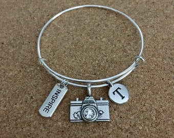 PHOTOGRAPHY INSPIRE Charm Bracelet-Silver-Plated Bangle, Camera Charm w/ crystal, Inspire Charm, Camera Charm, Initial Charm, Digital Camera