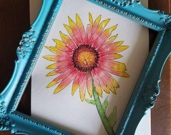 Watercolor wild flower, wild flower painting, wild flower watercolor, sunflower, sunflower watercolor, wildflower