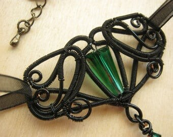 gothic jewelry, gothic necklace, victorian gothic, victorian jewelry, green gothic, victorian necklace, steampunk jewelry - GREEN FAIRY