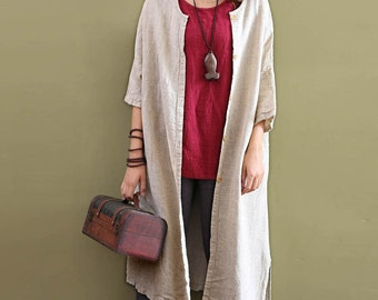 2017 new spring and summer cotton and linen Coat -  cardigan women's leisure long section of pure color loose cotton and linen jacket