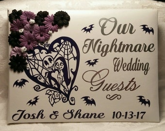 Nightmare Before Christmas, Jack and Sally, Guest Book, Halloween, Wedding, Guestbook