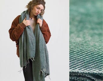 Nomad Scarf Green/grey - blanket scarf, oversized scarf, chunky scarf, festival accessories, festival blanket, throw