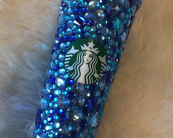 Rhinestone cup. Venti cold cup. Glitter cup. Blue crystal Starbucks cup. Summer sale. Cobalt blue.