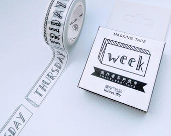 Days of the Week washi tape - 15mm wide x 7m long - Cardmaking, gift wrapping, wedding favours, DIY craft projects