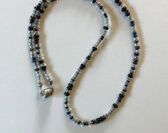 Blue and Silver Bead Necklace