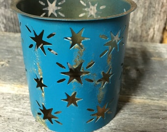137 - Tea Light Holders- Set of 12 -Wedding - Shabby Chic -Outdoor Decor - Party Decor -Star Cut Outs -Turquoise -Distressed-Gold Undertones