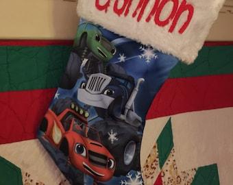 """BLAZE Monster Truck 18"""" Jersey Christmas Stocking Plush Cuff - Personalized"""