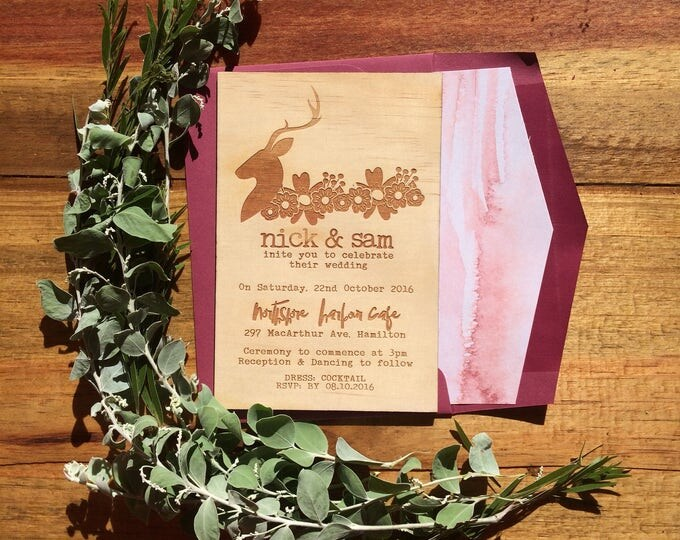 Wooden invitation. -Limited Edition Wood invitation and watercolour print lined envelope set- Stag wedding invitation. 10 pack
