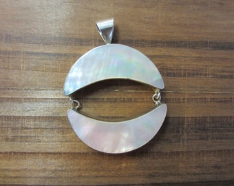 Silver Mother of Pearl Pendant, Half Moon Pendant, Silver Jewellery