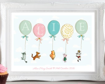 A4 Personalised Winnie the Pooh, Eeyore, Piglet Balloon Print Picture Christening Birthday Gift Present for Baby Nursery Wall Art Unframed.