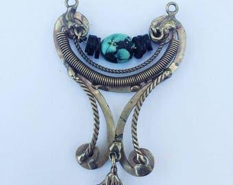 Handmade Turquoise Pendant, Brass