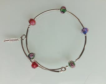 Hand made silver plated bangle with delicate millifiori beads