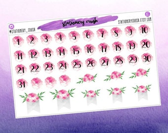 Peony numbers & flags - decorative stickers