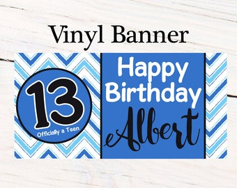 Officially a Teen Chevron Banner, Personalized Banners Boys 13th Birthday Banner, Milestone Banner, Printed Vinyl Banner, Custom Banner
