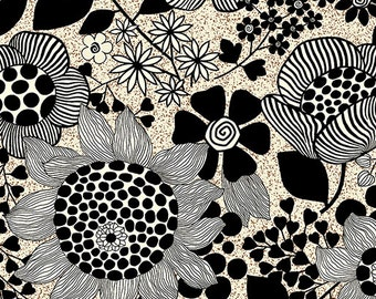 Sgraffito Floral Bisque  By ELISE K By the Yard Item #10100-07