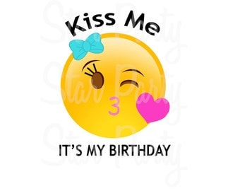 Instant Download, Emoji, Emoticon, Kissy Face, Emoji Party, Emoji Birthday, T shirt Printable Iron On Transfer Sticker custom Birthday Shirt