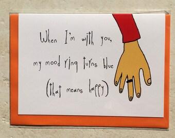 Happy mood greeting card. 10.5 x 14.8 cm