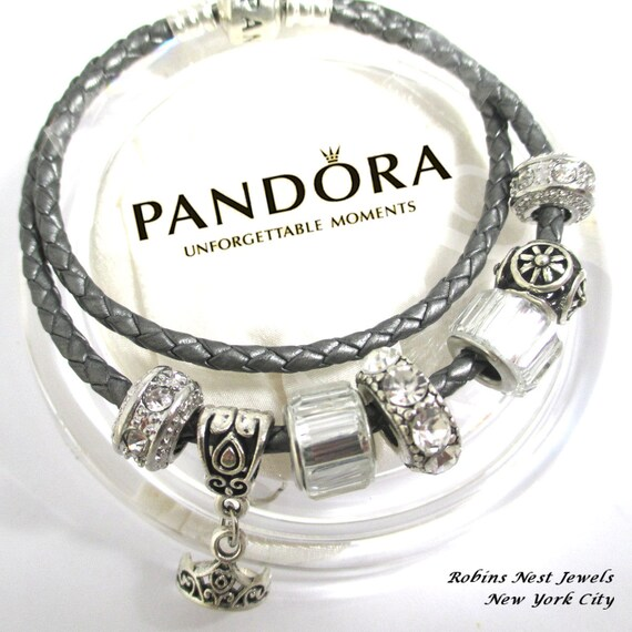 authentic pandora princess tiara leather bracelet silver