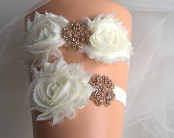 Rose Gold Garter Set, Wedding Garter Set, Bridal Garter Set, Vintage Wedding  Garter, Rhinestone Garter. Toss Garter, ivory, Shabby Garter