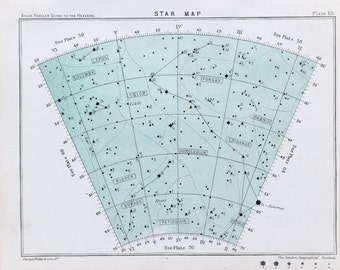 Antique Astronomy Print - Celestial Star Chart, Astrology Astrological Signs. Colour Astronomical Print c. 1900