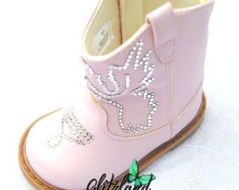 Last One!!  Size 3 Swarovski Baby Deer Western Boot (Infant/Toddler/Little Kid) Blinged w/ Swarovski Crystals