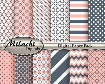 60% OFF SALE Black Coral and Melon Digital Paper Pack - Commercial Use - Instant Download - M78