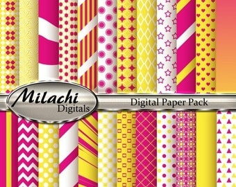 60% OFF SALE Yellow and Pink Digital Paper Pack, Scrapbook Papers, Commercial Use - Instant Download - M121