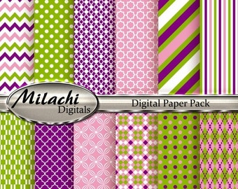60% OFF SALE Purple Pink Green Digital Paper Pack - Commercial Use - Instant Download - M39