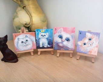 Cats Painting , Miniature, Original Small Painting , Oil Mini Painting on Canvas
