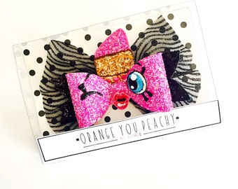 The Lippy Lips Lipstick Hair Bow - Lips hair clip, Lipstick headband, Lippy glitter bow, Shopkins inspired hair bow 3 WEEK TURNAROUND