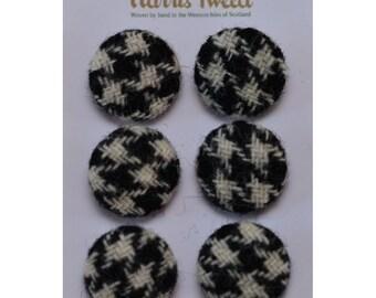 Harris Tweed Pure Wool BlackHoundstooth Handmade Covered Set of 6 Buttons 24mm Diameter