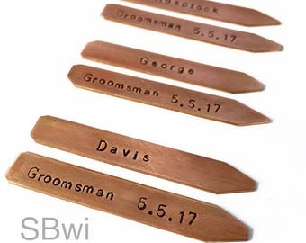 Custom copper collar stays for groomsman