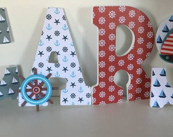 Nautical boys letters, red and navy wood letters for baby nursery, Carsten boys name letters, hanging letters for bedroom, wood letters