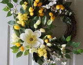 Spring Door Wreath, Magnolia Cherry Flowers Tulips Large Wreath ready to ship 27in