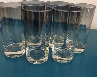 Vintage Set of 6 Dorothy Thorpe Medium Silver Ombre Glass Tumblers